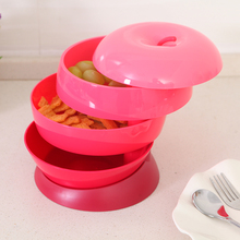 050 Fashion Removable three-layer revolving candy box fruit plate 18*18*17cm