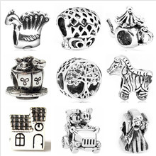 Btuamb Vintage Punk Style Tree Mickey Cartoon House Alloy Beads fit Original Pandora Charm Bracelets for Women Making Jewelry(China)