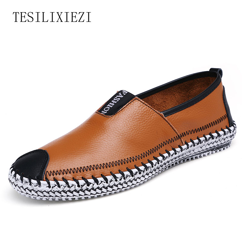 Plus Size 38 to 48 High Quality Genuine Leather 2017 Men Shoes Soft Casual Loafers Shoes Fashion Male Flats Comfy Driving Flats caltus male casual shoes soft footwear classic genuine leather men platform flats good quality working shoes size 38 44 aa20537