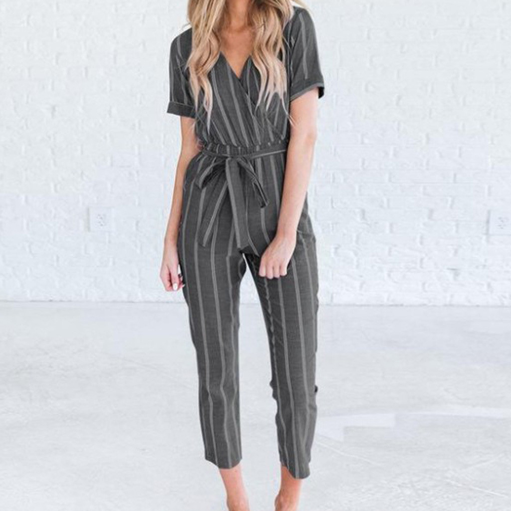 V-neck women long   jumpsuit   Elegant vintage stripe belt female   jumpsuit   romper Solid office ladies overalls Plus Size Pantalon