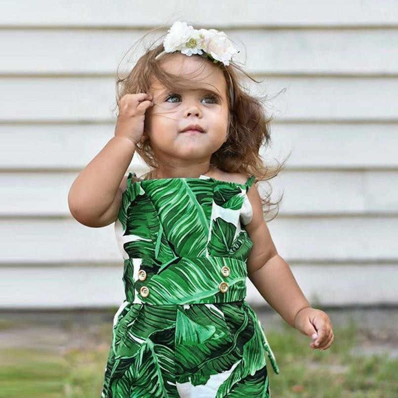 Боди с принтом в виде листьев для маленьких девочек; хлопковый комбинезон без рукавов для маленьких девочек; Новинка 2018 года; модная летняя одежда