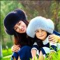 Novas crianças 2016 moda fox fur leifeng chapéu outono inverno bebê grosso quente pai-filho chapéus orelha quente cap mhh sólida do miúdo 04