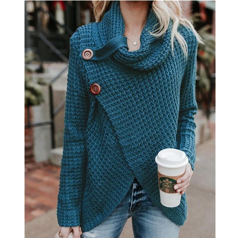Sinfeel Pullover Women's Jumper Turtleneck Sweater Female Jumper Women Warm Sweater Thin Winter Button Knitted Oversized Sweater