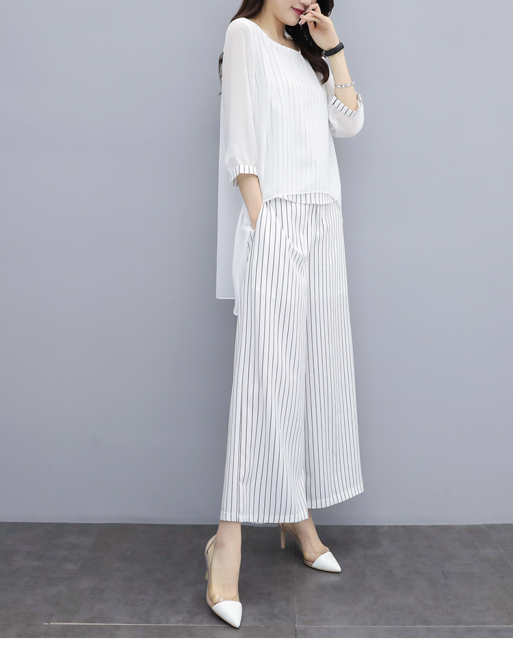 HTB1CbZYa25G3KVjSZPxq6zI3XXa8 - S-3xl Summer Chiffon 2 Two Piece Sets Outfits Women Plus Size Asymmetrical Blouses And Wide Leg Pants Suits Elegant Korean Sets