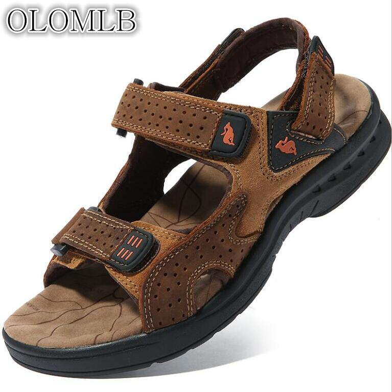 OLOMLB 2019 Camel Brand New Men's Sandals Summer Men's Leather Open Toe Men's Casual Leather Sandals Outdoor Sandals