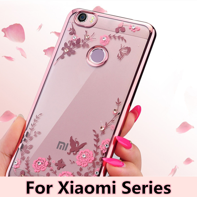 Rhinestones Cases for xiaomi series Plating Soft TPU Case Bling Diamond Case Flower Back Cover Case