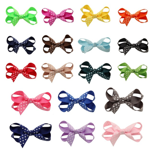 100pcs/lot High Quality&Retail 3.1inches Candy Colors with Polka Dot Hairpins for Toddler Infant, Fashion Baby's New Year's Gift