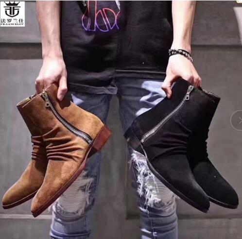 2019 FR.LANCELOT Pleated Luxury Suede 3 colors Men Boots Ankle Short Booties Low Heel Square Heel Shoes Men Trainers Chelsea Zip2019 FR.LANCELOT Pleated Luxury Suede 3 colors Men Boots Ankle Short Booties Low Heel Square Heel Shoes Men Trainers Chelsea Zip