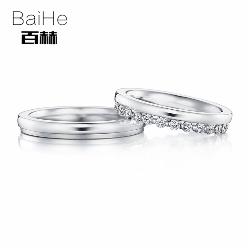 BAIHE Solid 18K White Gold 0.36ct Certified H/SI Round 100% Genuine Natural Diamonds Engagement Women Jewelry Trendy Couple RingBAIHE Solid 18K White Gold 0.36ct Certified H/SI Round 100% Genuine Natural Diamonds Engagement Women Jewelry Trendy Couple Ring