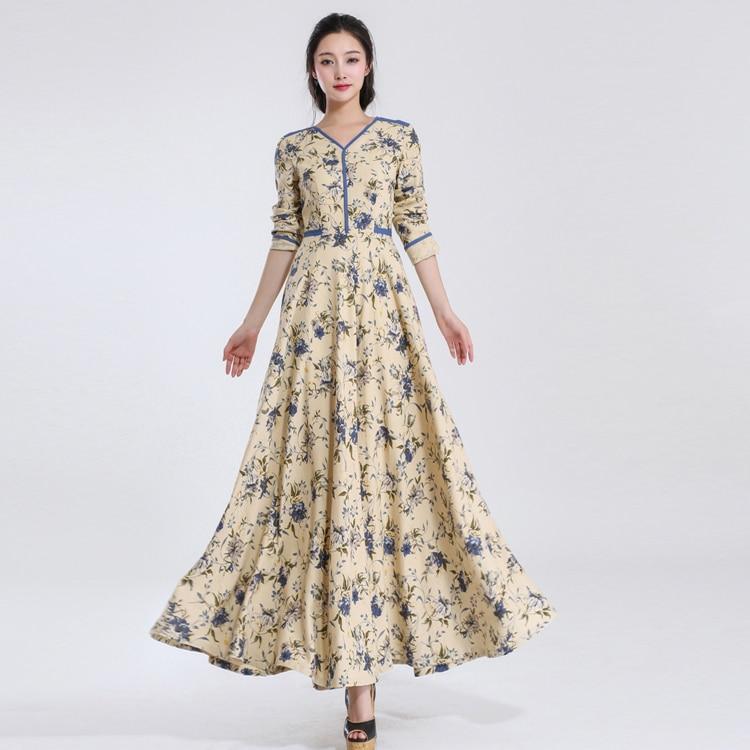 Online Shop women slim fit long linen dress floral print floor ...