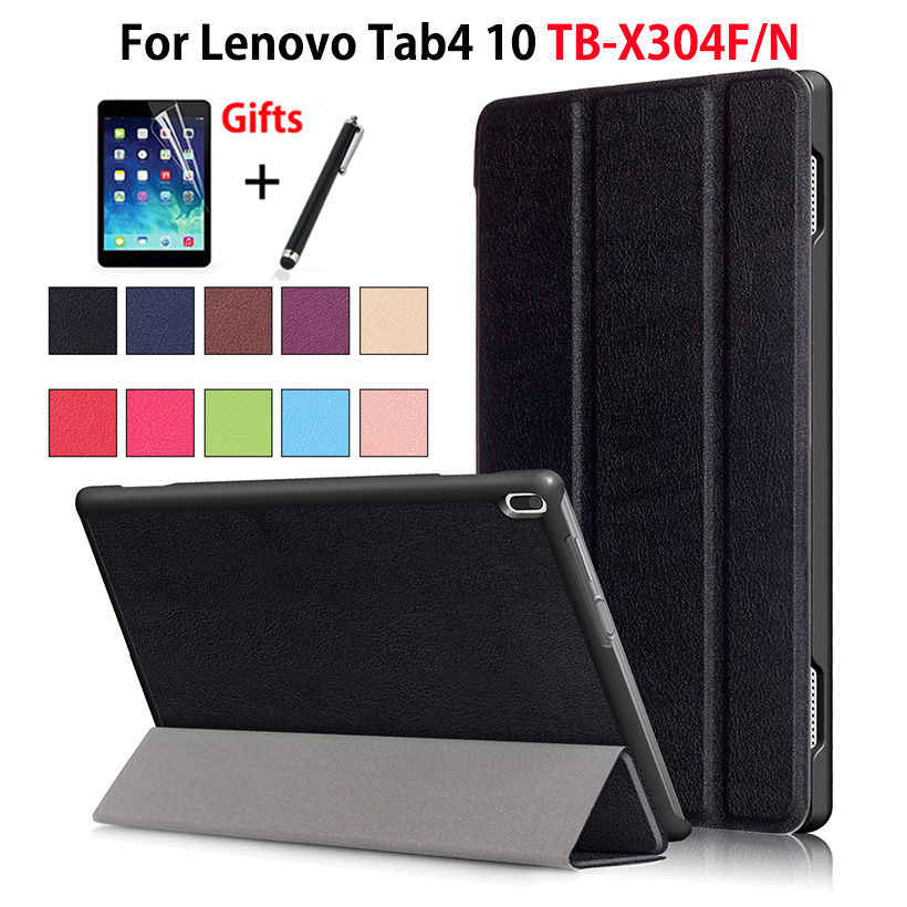 "Case For Lenovo TAB4 Tab 4 10 TB-X304L TB-X304F TB-X304N 10.1"" Smart Cover Funda Tablet PU Folding Stand Skin Shell +Film+Pen"