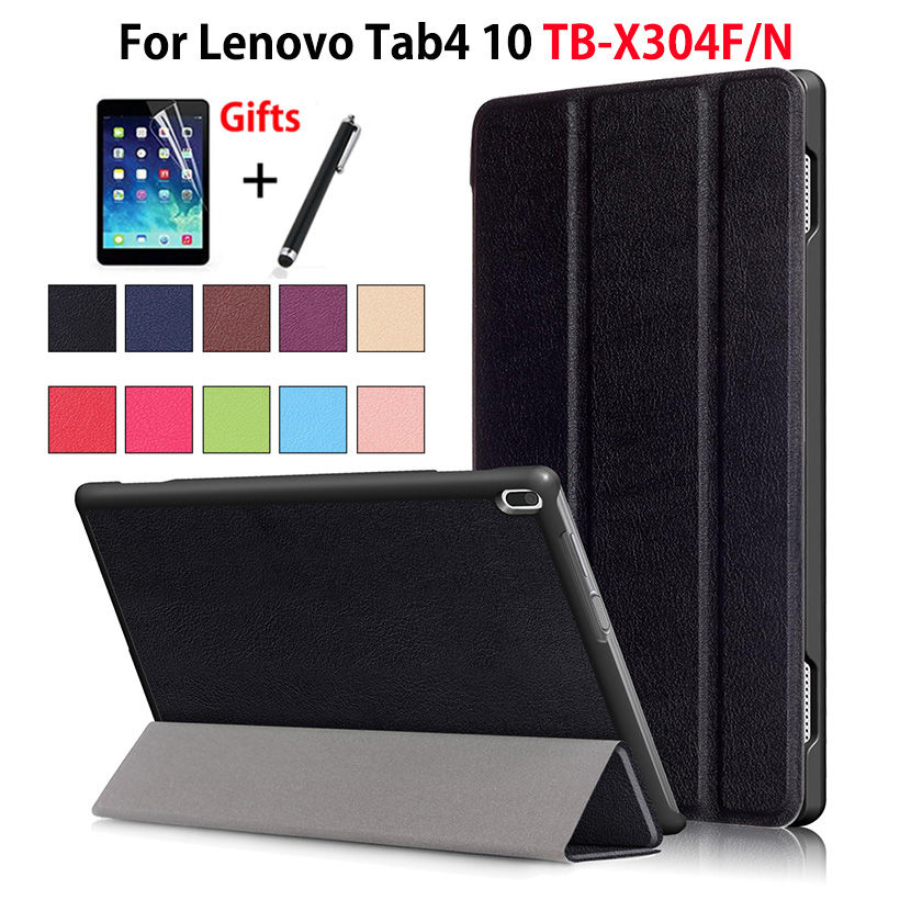 Case For Lenovo TAB4 Tab 4 10 TB-X304L TB-X304F TB-X304N 10.1 Smart Cover Funda Tablet PU Folding Stand Skin Shell +Film+Pen