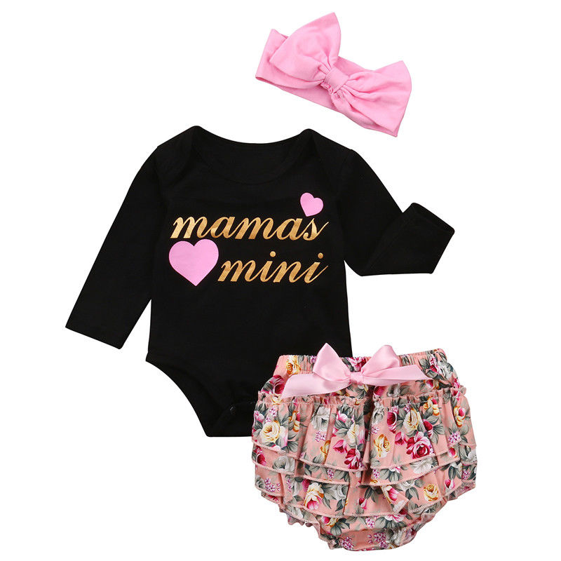 3PCS Newborn Baby Clothes Mama's Mini Long Sleeve Bodysuit Tops+Floral Tutu Skirted Bloomers Shorts Headband Outfit Sunsuit