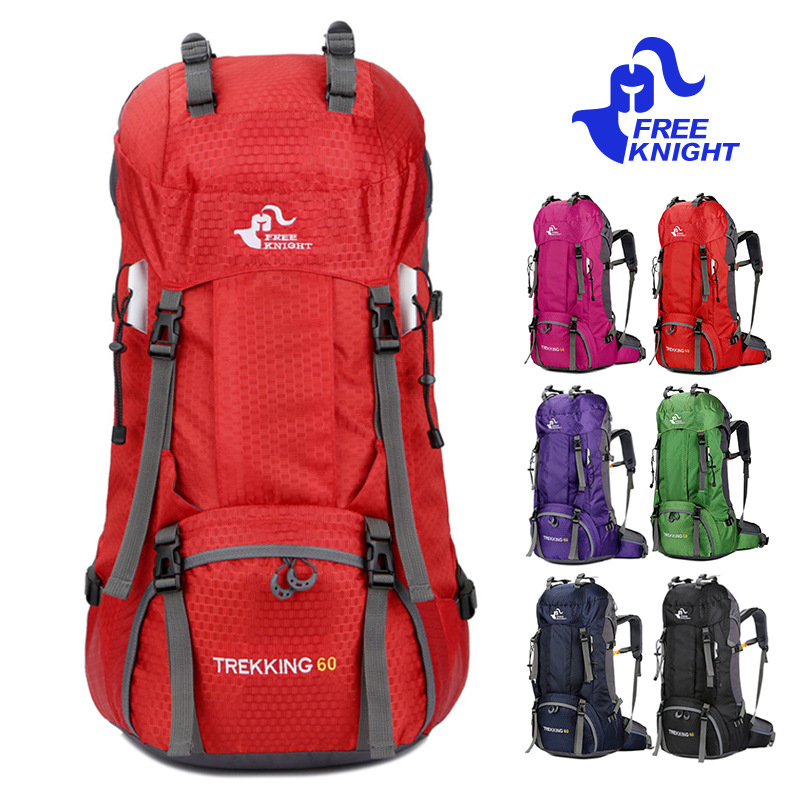 Free Knight 60L Waterproof Climbing Hiking Backpack Rain Cover Bag Camping Mountaineering Backpack Sport Outdoor Bike