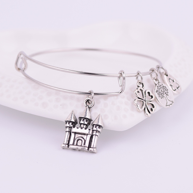 2017 ancient silver castle charms expandable adjustable wire
