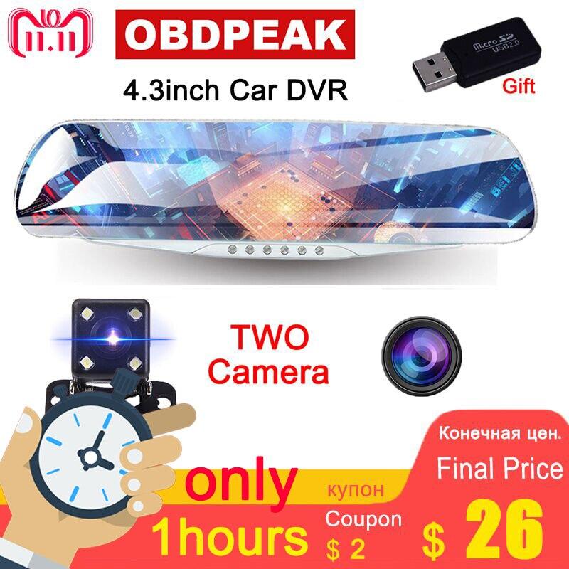 4.3 1080 p voiture rétroviseur dvr de voiture full HD 1080 p voiture conduite enregistreur vidéo caméra de voiture inverse image double lentille Livraison gratuite