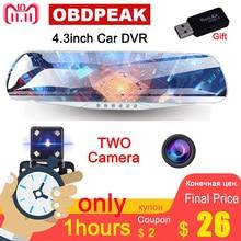 4.3″ 1080P car rearview mirror dvr car full HD 1080p car driving video recorder camera car reverse image dual lens Free shipping