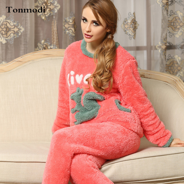 Flannel Sleep Pajamas For Women Winter Flannel Pullover Sleepwear Nightshirt Animal Ladies Pyjamas Set