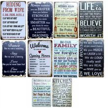 Kitchen Family Rules  Metal Painting Wall Bar Home Art Decor Cuadros 30X20CM A-5388