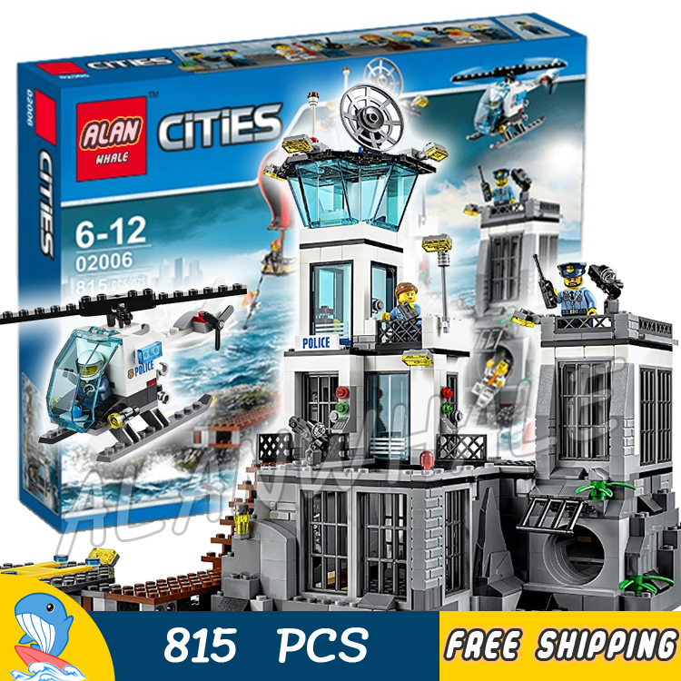 815pcs City Prison Island Helicopter 02006 Model Building Blocks Assemble Bricks Children Toys Construction Compatible With Lego sluban b2100 city police riot swat helicopter 3d construction plastic model building blocks bricks compatible with lego