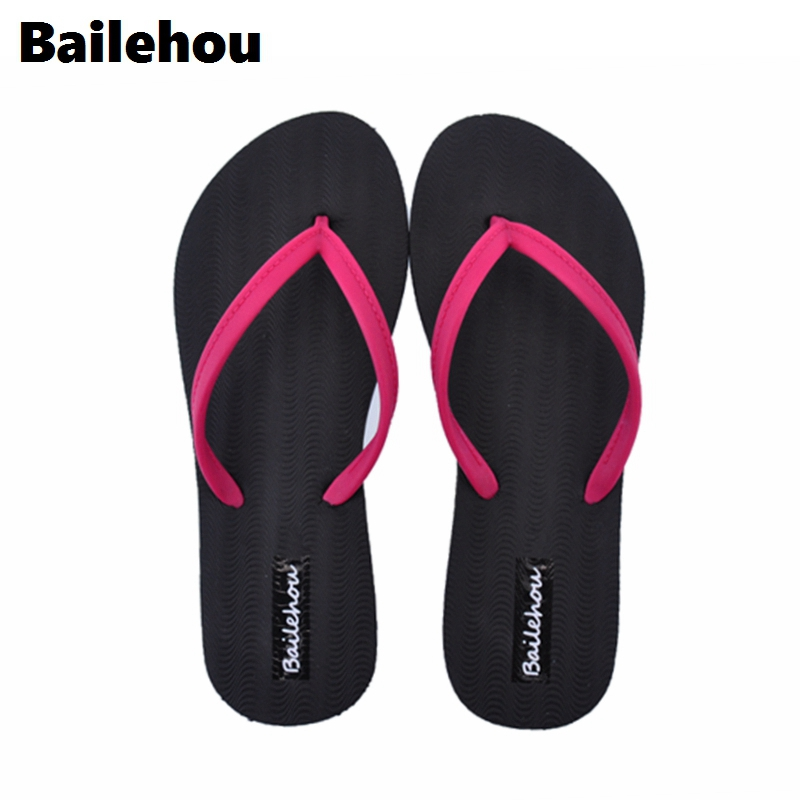 Bailehou Fashion Women Slippers Casual Flat Shoes Flip Flops Beach Sandals Slip On Slides Candy Color Ladies Shoes Flat Platform