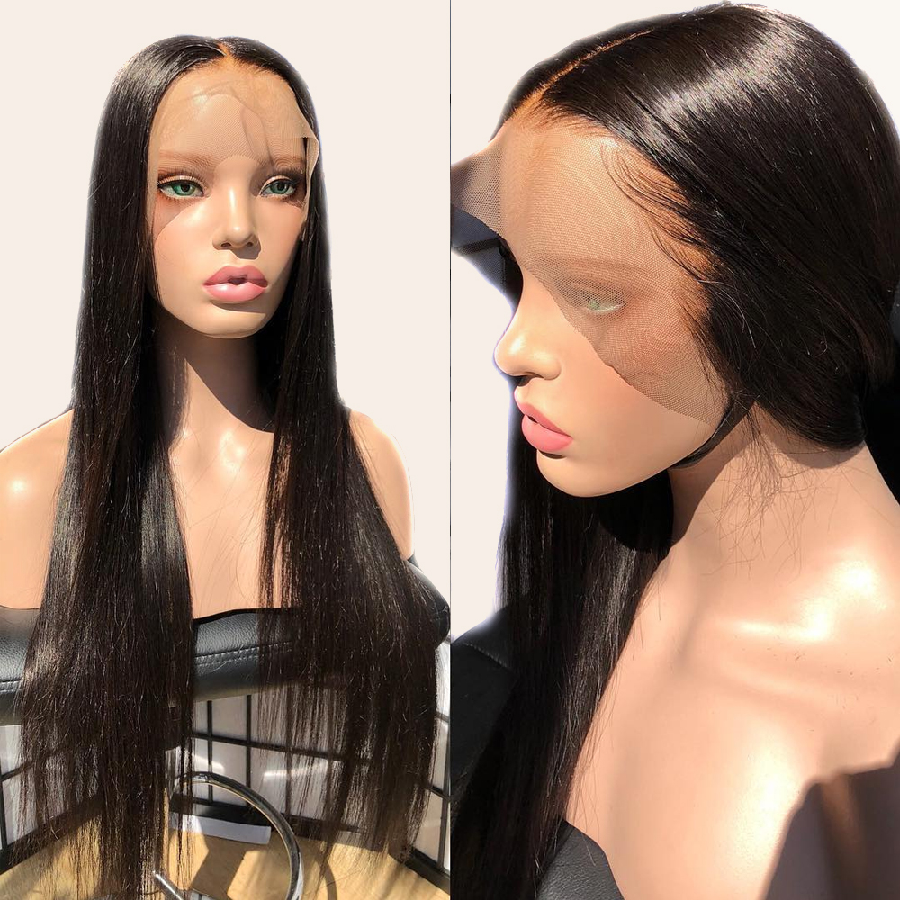 Fake Scalp 13x6 Lace Front Human Hair Wigs PrePlucked Invisible Transparent HD 360 Frontal Closure Wig Straight Remy Atina Queen