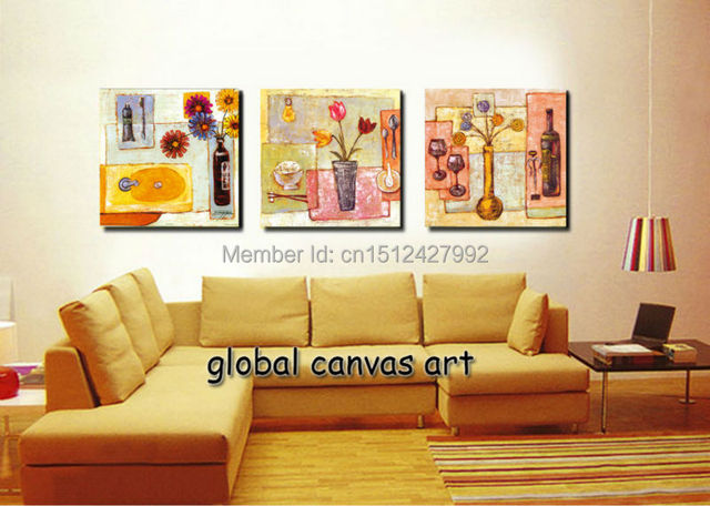 Framed 3 Panel Modern Home Decoration Wall Art Picture Dining Table Canvas  Print Flower Oil Painting
