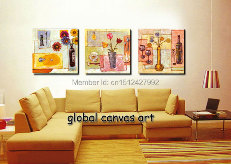 framed 3 panel modern home decoration wall art picture dining table canvas print flower oil painting canvas art for living room
