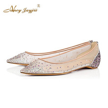Nancyjayjii Women Genuine Leather Lace Ballet Flats Crystal Rhinestones Mesh Transparent Handmade Shoes Woman,Large Size 4-16