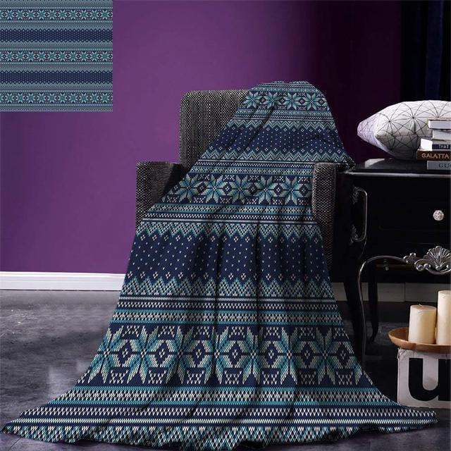 Nordic Throw Blanket Festive Knitted Pattern With Chevron
