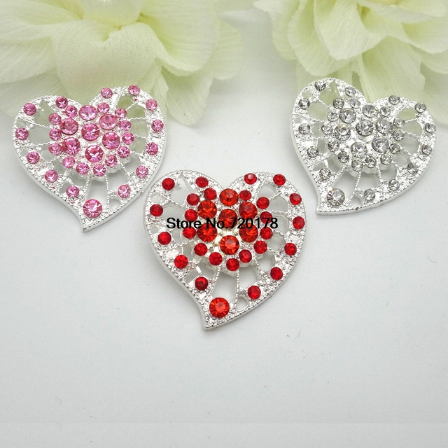 Red Heart Glass Rhinestone Buttons Crystal Heart Buttons Silver Metal  Embellishment Wedding Accents DIY 30X35MM 30pcs RMM163-in Buttons from Home  &
