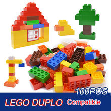 Baby Toys Large Size Building Blocks Plastic Assembly Model Big Bricks Learning Educational Toys For 3 Years Olds 100pcs/set