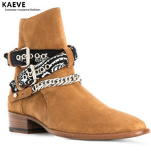 Metal Chain Buckle Strap Men Chelsea Boots Round Toe Slip-on Outdoor Working Suede High Quality Man Ankle Bota Shoes Low Heels