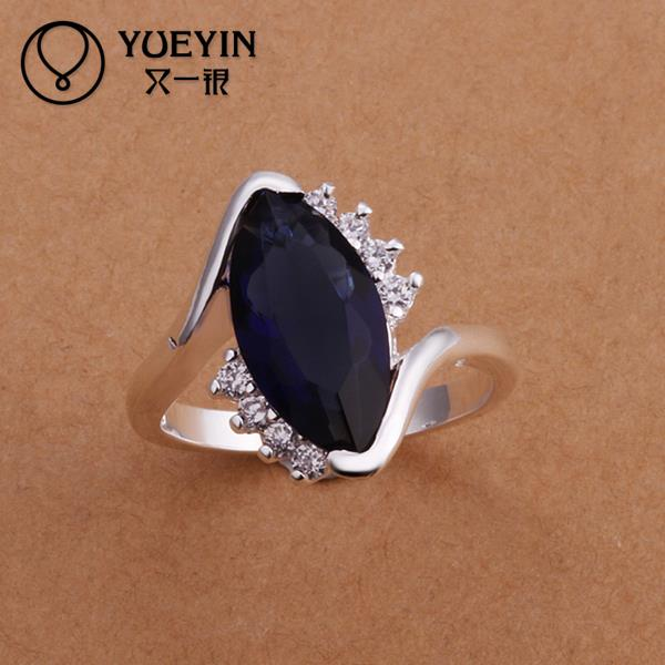 2016 SALE joias silver plated Blue sapphire stone Vintage new design cool finger ring for women new arrivals