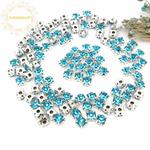3mm 4mm 5mm 6mm 7mm 8mm Turquoise blue Diamond shape Glass Crystal rhinestones with silvery claw Diy wedding dress accessories