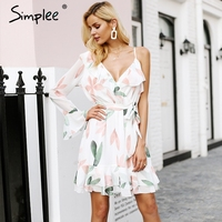 Simplee V Neck Print Bohemian Beach Dress Irregular Ruffles Summer Dress Women 2018 Bandage Elegant Short