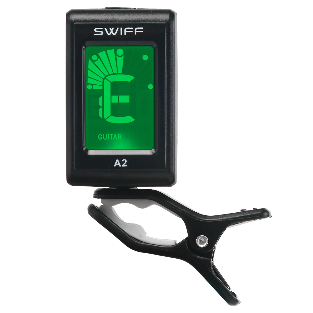 A2 Mini Guitar Tuner Portable Clip-On 3V A2 Digital Tone Tuner LCD for Acoustic Electric Guitar Bass Chromatic Violin Ukulele 2 2 lcd digital tuner metronome for guitar bass violin black 2 x aaa