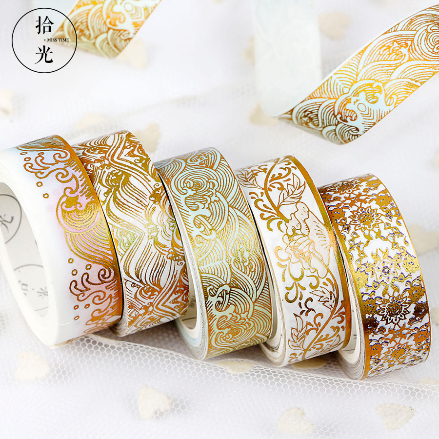 Divine Gold Pattern Crane Gilding Washi Tape DIY Scrapbooking Sticker Label Masking Tape School Office Supply 1 5cm 5m star twigs gold silver washi tape diy scrapbooking masking tape school office supply escolar papelaria