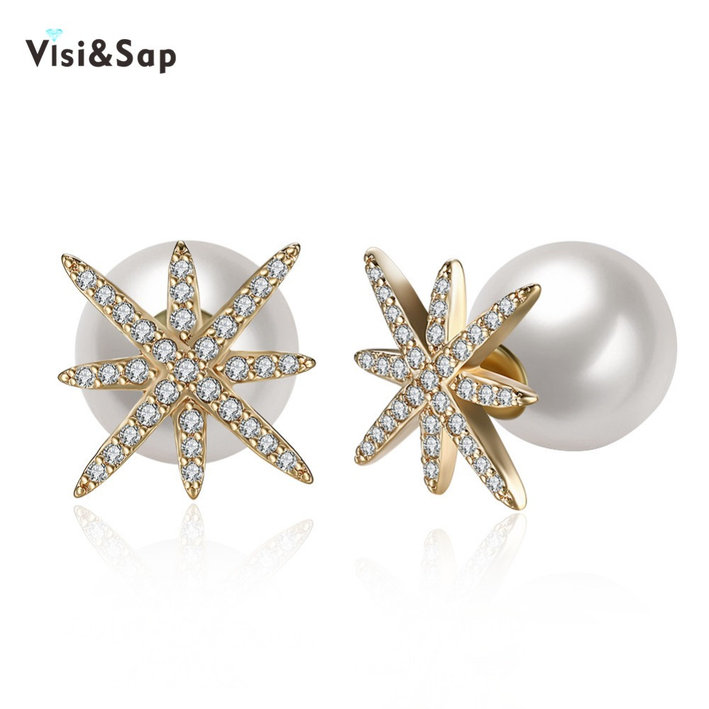 Visisap Star Champagne Gold Color Stud Earrings For Women Fashion Jewelry  Imitation Pearls Earring For Lovers