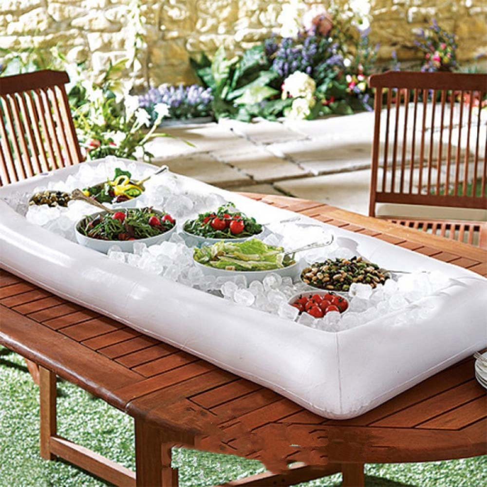 Cool Summer Inflatable Beer Table Pool Ice Bucket Salad Bar Tray Food Drink Dining Table Creative Party Float Water Air Mattress