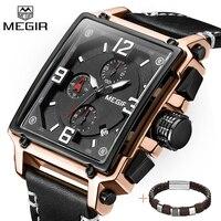 MEGIR クリエイティブスクエアメンズ腕時計トップブランドの高級クォーツ腕時計時計男性レザースポーツ軍事腕時計レロジオ Masculino