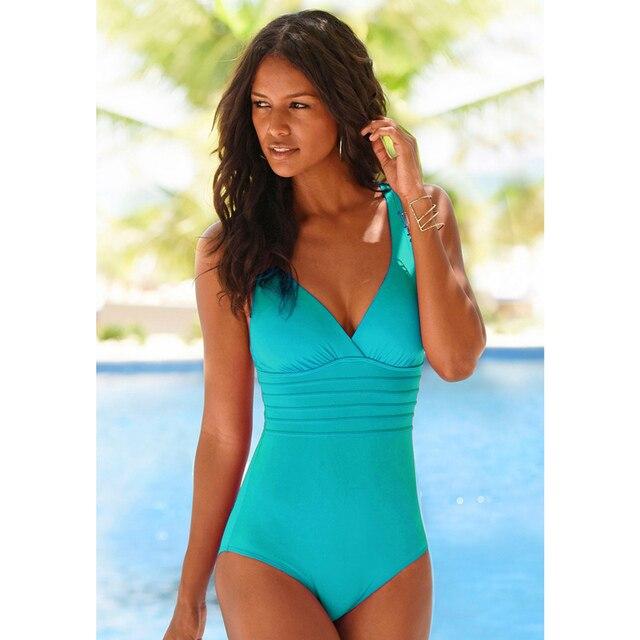Vintage One Piece Swimsuit Women Swimwear Solid Monokini Retro Bodysuit Beach Wear Black Blue Bath Suit Striped Maillot De Bain 4