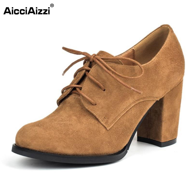 AicciAizzi Sexy Ladies Real Leather High Heel Shoes Women Cross Strap Round Toe Thick Heels Pumps Party Female Shoe Size 34-39 kemekiss size 33 42 women s high heel wedge shoes women cross strap platform pumps round toe casual mixed color ladies footwear