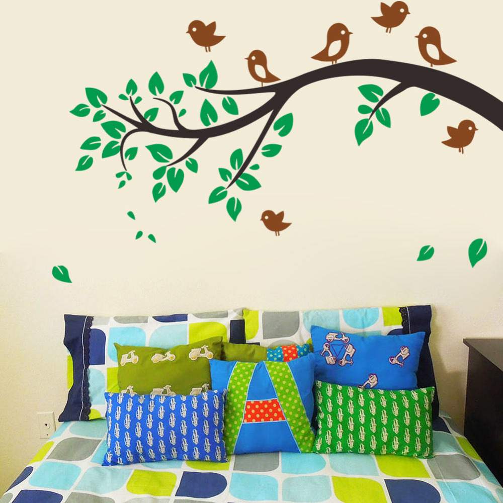 Vinyl Wall Decor Decal Removable Tree Branches Birds Kids