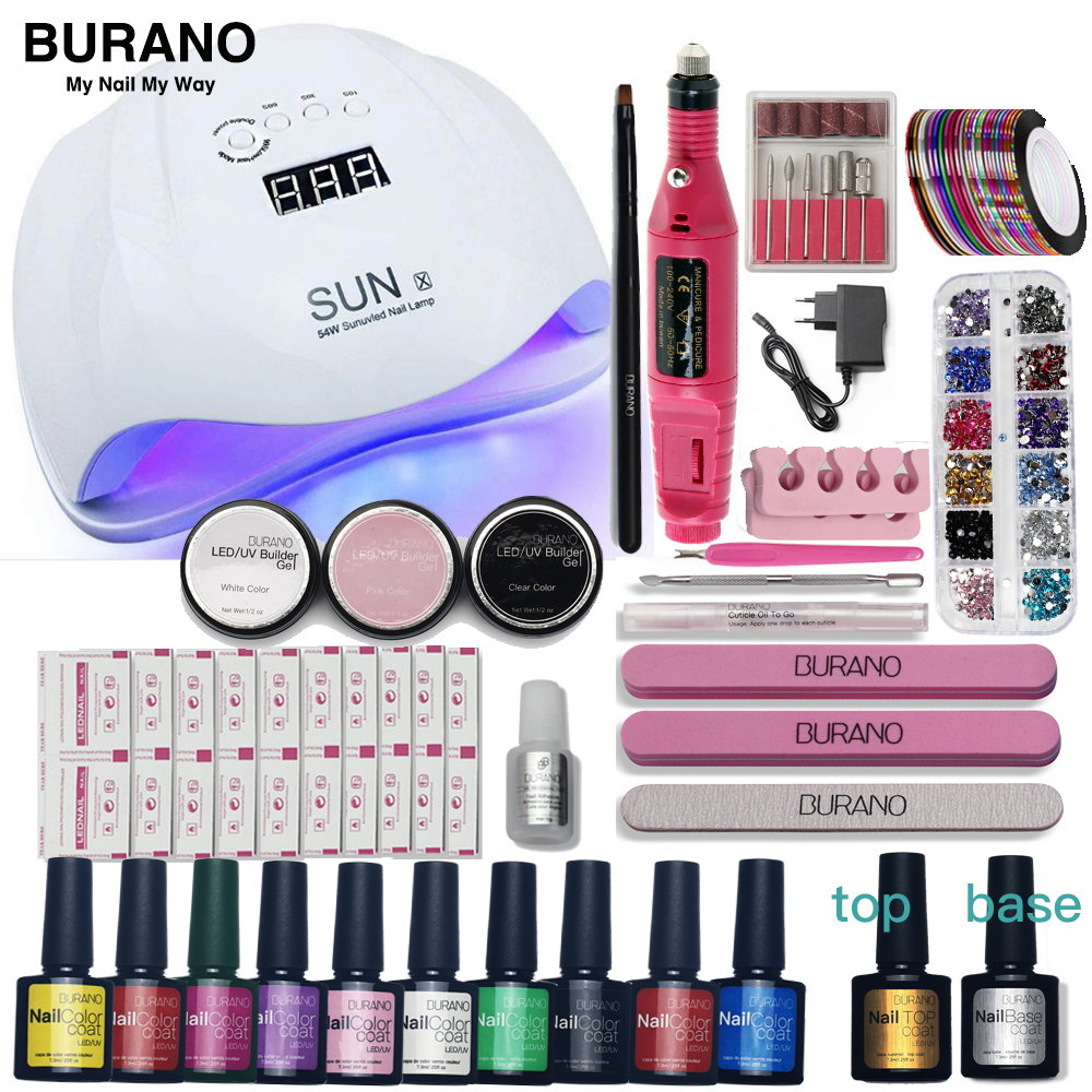 BURANO Nail Set led Lamp Dryer 10 Nail Gel Polish Soak Off Manicure Gel Nail Polish Kit For Nail Art Tools