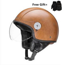 Brown New Synthetic Leather Motorcycle Helmet Retro Vintage Cruiser Chopper Scooter Cafe Racer Moto 3/4 Open Face