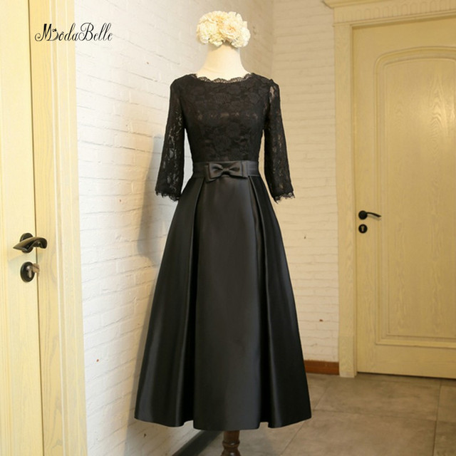 6e4fd084898e8 Modabelle Tea Length Dress Black Muslim Bridesmaid Dresses Long Lace Maid  Of Honor Gowns With 3/4 Sleeve Wedding Party Dresses