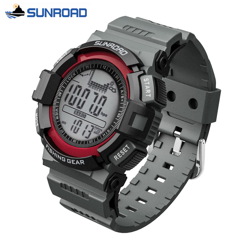 Sunroad  Waterproof Multifunction Digital Fishing Watch All In One 3ATM Barometer Altimeter Thermometer Record Watch Clock 2017