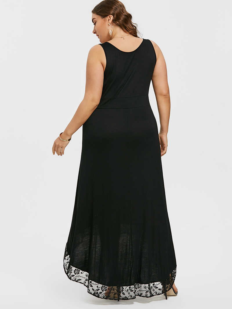 ... PlusMiss Plus Size 5XL Sexy High Low Maxi Long Party Dress Women  Clothing Robe Femme Lace 7bb8ae2f2a78