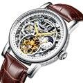 Esqueleto mens relógios top marca de luxo relógio do esporte mecânico automático preto à prova d' água cinto negócio relógio Turbilhão